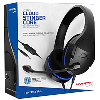 HyperX Cloud Stinger Core - Gaming Headset for PS4, Playstation 4, Nintendo Switch, Xbox One headset, Over-ear wired headset with Mic, passive noise cancelling, PC, Laptop, VR, Android and iOS – Blue