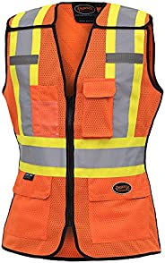 Pioneer Hi Vis Breathable 5 Point Tear-Away Women Safety Vest, Orange, XL, V1023650-XL