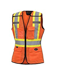 Pioneer Hi Vis Breathable 5 Point Tear-Away Women Safety Vest, Orange, S, V1023650-S