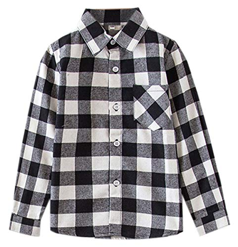 Kids Girls Long Sleeves Button Down Gingham Plaid Flannel Shirt Tops for Toddlers Baby and Little Girls, Girls(E004), 7-8 Years/Tag 140 ()