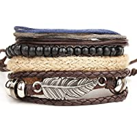 Mens Braided Leather Stainless Steel Cuff Bangle Multi Chain Bracelet Wristband