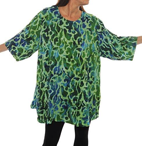 WeBeBop Blue Green Dream Swing Top Batik Unique Plus Size (6X Bust 84/Hip 94/Length 36)