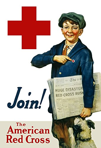 Posterazzi Vintage World War One Smiling Paper delivery boy with his Dog Pointing Lapel pin. It Reads Join The American Red Cross. Poster Print, (11 x 17)