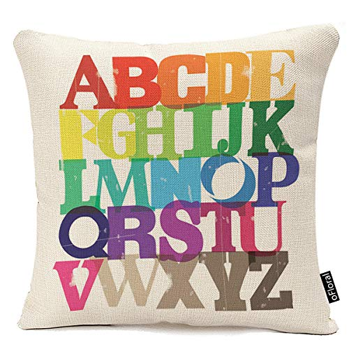 oFloral Rainbow ABC Cotton Linen Square Throw Pillow Case Shell Decorative Cushion Cover Pillowcase 18 X 18 Inch