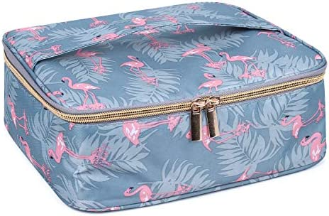 Travel Makeup Bag Large Cosmetic Bag Makeup Case Organizer for Women and Girls (Flamingo) 5
