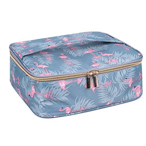 Travel Makeup Bag Large Cosmetic Bag Makeup Case Organizer for Women and Girls (Flamingo)