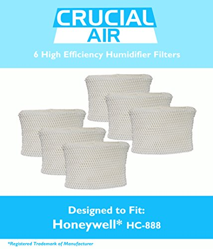 6 Honeywell HC-888 & Duracraft D88 Humidifier Filter Fits DCM-200, DH-888, DH-890, DH-890C, DCM-891B, DCM-891S (AC-888),HCM-890, HCM-890B, HCM-890C, HCM-890-20 (AC-888), HCM-890-MTG & S35E-A, Designed & Engineered by Crucial Air