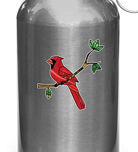Bird - Cardinal Perched on Branch - Stained Glass Style Vinyl Water Bottle Decal - Copyright Yadda-Yadda Design Co. (2.75