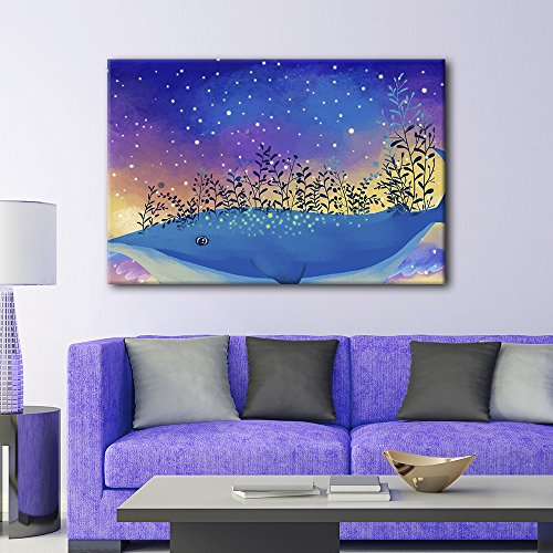 Hand Drawing Style Mystical Starry Night Above The Blue Whale with Flowers