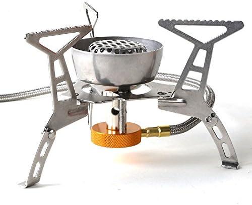 Ecent Estufa de Gas a Prueba de Viento Plegable Estufa de Camping Acero Inoxidable Llama poderosa para Camping Cocina Al Aire Libre (sin Ignición)