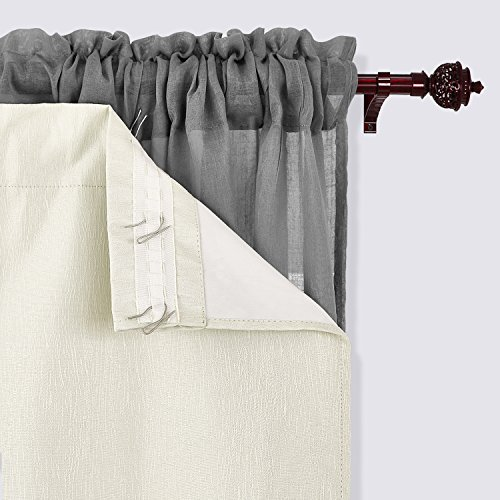 Deconovo Textured Rod Pocket Thermal Insulated Blackout Curtain Liner with Triple-pass Coating Back Layer 27x80 Inch 2 Panels White Liners Hooks Included - Insulated Liner