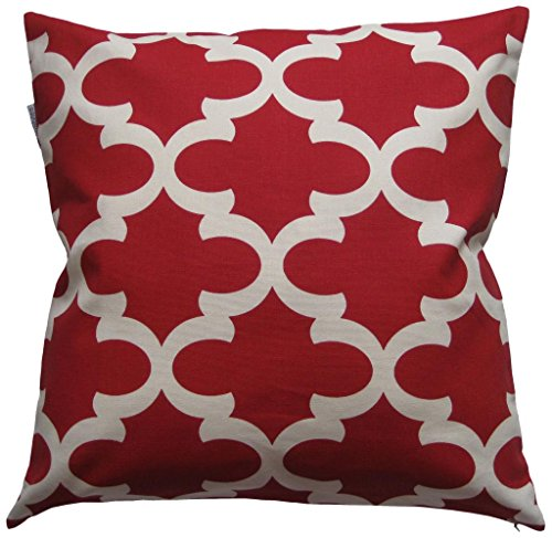 Red Decorative Toss Pillow (JinStyles Quatrefoil Cotton Canvas Decorative Throw Pillow Cover (Christmas Red and White, 18 x 18 inches))