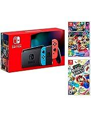 Nintendo Switch 32Gb Neon-Rot/Neon-Blau Pack Super Mario Party + Mario Kart 8 Deluxe