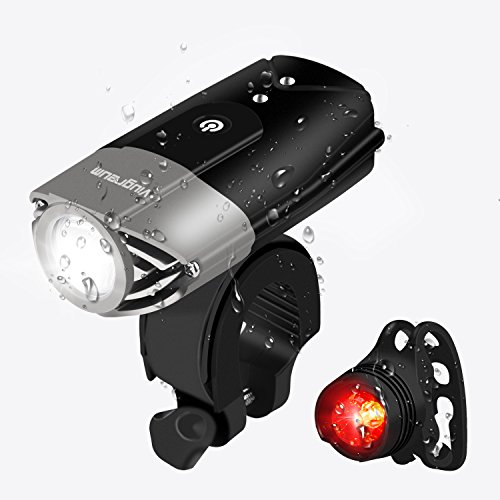 Viugreum USB Rechargeable Bike Light LED Front Headlight and Tail Back Rear Bicycle Light, IP65 Waterproof 2000mAh Lithium Battery USB Road Cycling Safety Flashlight for Kids Women Men from Viugreum