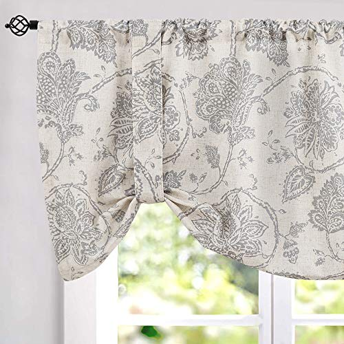 Tie Up Curtains for Windows Linen Textured Adjustable Tie-up Shade for Kitchen Rod Pocket Medallion Design Rustic Jacobean Floral Printed Tie-up Valance (1 Panel,18-Inch Grey) (Tie Cheap Curtains Up)