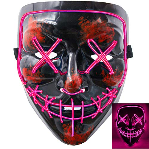 Scary Costumes With El Wire - heytech Halloween Scary Mask Cosplay Led