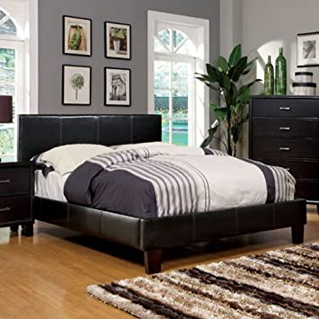 winn style espresso finish leatherette queen size platform bed frame set