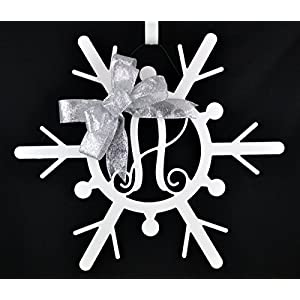 White Snowflake Monogram door hanger wreath with bow 118