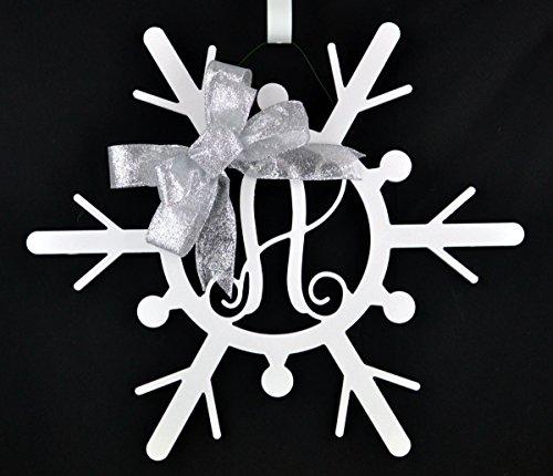 White Snowflake Monogram door hanger wreath with - Swirly Snow