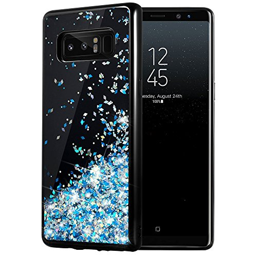 Galaxy Note 8 Case, Caka Galaxy Note 8 Glitter Case [Starry Night Series] Luxury Fashion Bling Flowing Liquid Floating Sparkle Glitter Girly TPU Bumper Case for Samsung Galaxy Note 8 - (Blue)