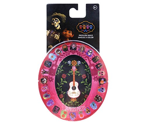 Mozlly Multipack - Disney Pixar Coco Press On Nails Wheel Set - Colorful - Easy to Apply and Remove - Dia De Los Muertos - Sugar Skulls, Skulls, Flowers - Novelty Cosmetics (24pc Set) (Pack of 3) -