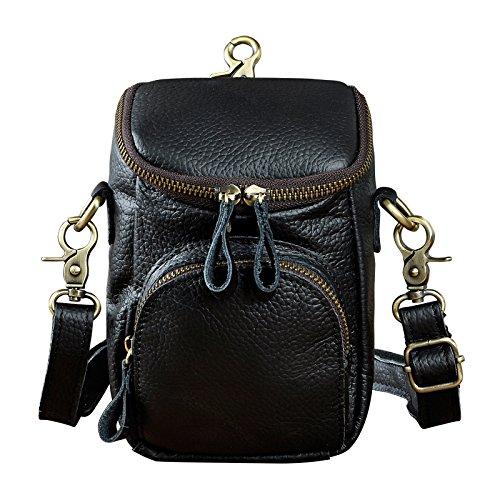 Designer Cigarette Case - Le'aokuu Men Original Leather Multifunction Fashion Mini Messenger Shoulder Crossbody Bag Designer Hook Waist Belt Bag Pack Cigarette Phone Pouch Case (1167 Black)
