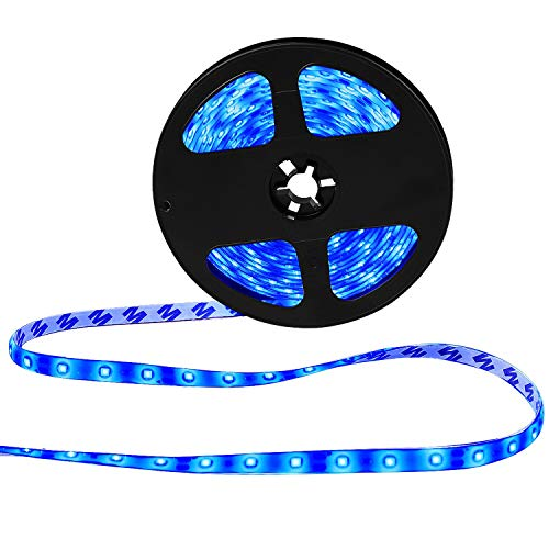 XKTTSUEERCRR Waterproof Blue LED 3528 SMD 300LED 5M 16.4Feet Flexible Light Strip 12V 2A 24W 60LED/M (blue) ()
