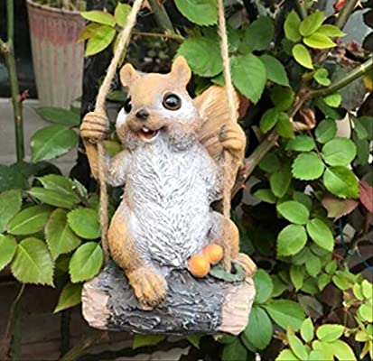 KWOSJYAL Swing Squirrel Garden Decoration Patio Kindergarten Adornos para Árboles Simulación Animal Micro Paisaje Jardín Paisajismo Figurilla A: Amazon.es: Jardín