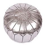 La Bohemia   Beautiful Handmade Silver Ottoman Footstool Pouf from Marrakech   Colour Silver   Delivered unstuffed
