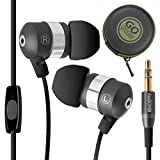 GOgroove audiOHM HF Ergonomic Earphones Headphones with HandsFree Microphone and Deep Bass (Black) Plus EVA Carrying Case for Apple iPhone 6s , Samsung Galaxy Note 5 , Microsoft Lumia 950 and More