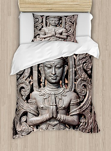 Ambesonne Asian Duvet Cover Set Twin Size, Antique Style Sculpture Traditional Thai Art Swirling Floral Patterns Japanese Elements, Decorative 2 Piece Bedding Set with 1 Pillow Sham, Bronze by Ambesonne