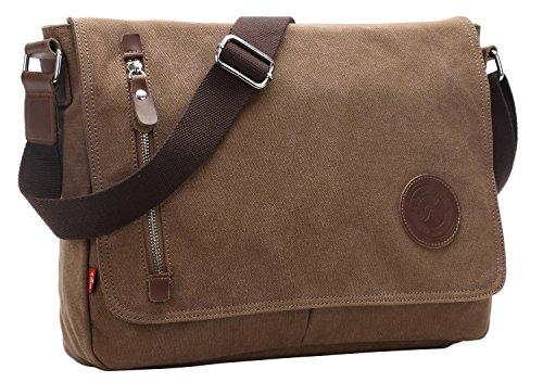 - AIBAG Messenger Bag, Canvas Crossbody Bag for Women and Men (Coffee)