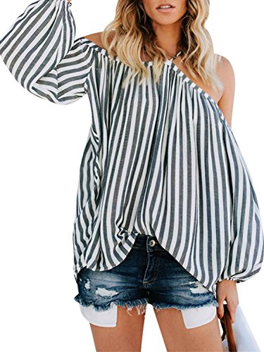 (D Jill Women's Striped Off Shoulder Halter Blouse Long Sleeve Shirt Top Blouse Loose White)