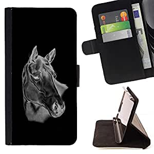 For LG G2 D800 Black & White Horse Beautiful Print Wallet Leather Case Cover With Credit Card Slots And Stand Function