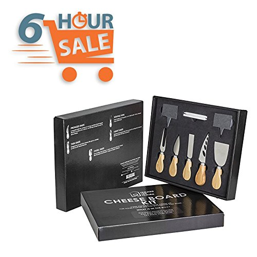 Cheese Knife And Marker Set, 5 Cutlery Knives Stainless Steel Bamboo Handles, 4 Cheese Board Labels Made Of Natural Black Slate Includes 2-Chalk Markers.Gift For All Occasions Upgrade By House Ur Home by House Ur Home (Image #7)