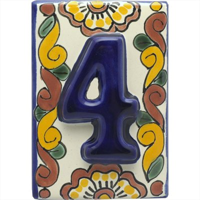Talavera House Number Handmade 3D (Number Four)
