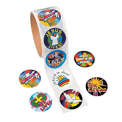 Easter ?He Lives!? Roll of Stickers. (100 Stickers Per Roll)