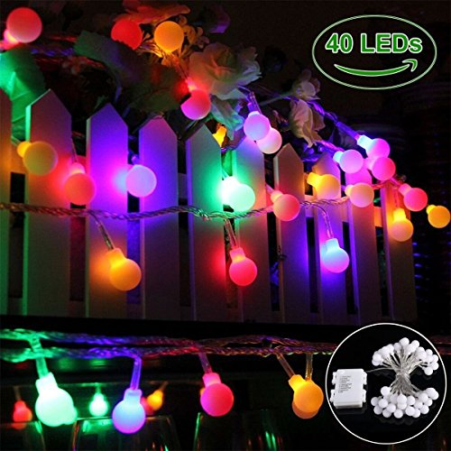 Globe String Lights, 40 LED Colorful Ball lights, Battery Operated Starry Fairy Lights, IP 65 Waterproof Decorative String Lights Outdoor for patio, Christmas, Garden, Wedding, Parties