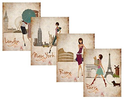 Paris, London, Roma and New York Set 8