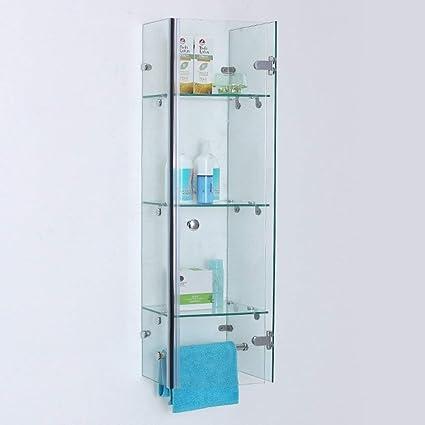 Estantería de baño para ducha de pared con esquinas de cristal templado impermeable, 3 capas