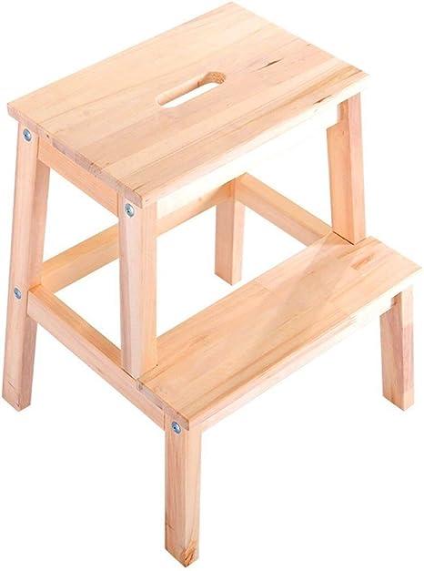 LIULAOHAN Taburete de Madera Taburete Escalera de Dos escalones Taburete Plegable for pies Cocina Simple, Alto 50cm, 3 Colores Duradero (Color : Wood Color): Amazon.es: Hogar