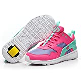 hanyu Heelys Adult Female Roller Skates Boys and Girls Youth Spring and Autumn Lightweight Breathable Single Wheel Wheeled Shoes Students (6 UK, Rot und Blau)