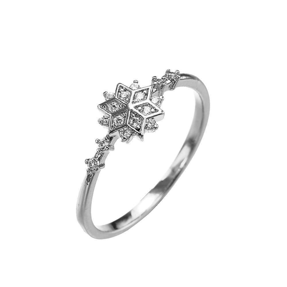 Kalinyer Ring Bands for Women, Women's Snowflake Crystal Diamond Ring Bridal Ring Wedding Ring Birthday Gifts(Silver, 6#)