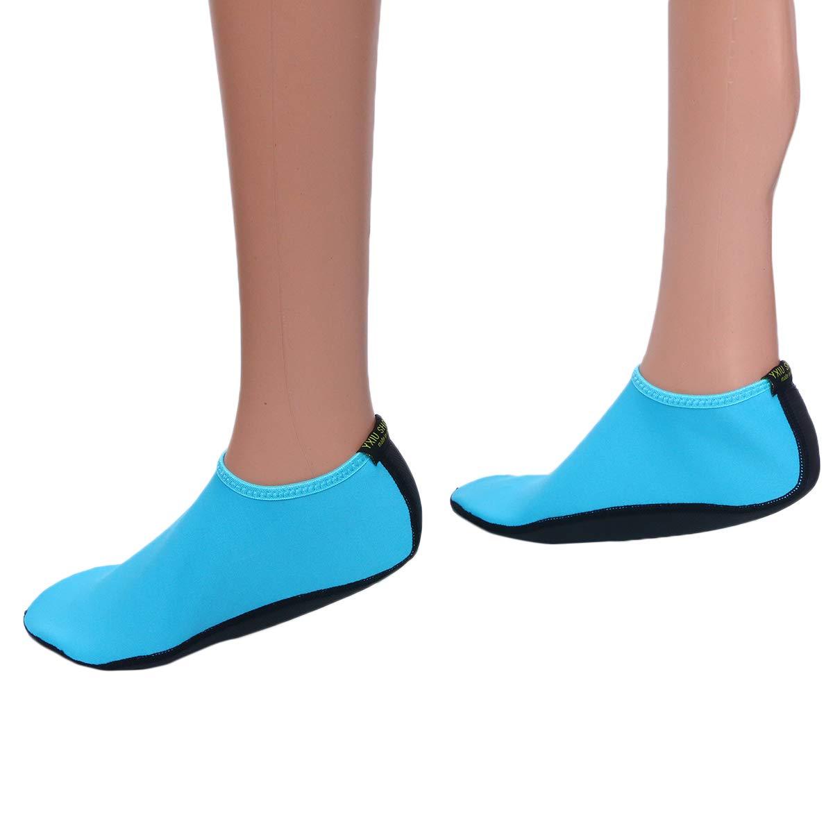 Black M//36-37 LIOOBO Quick-Dry Water Shoes Aqua Socks Lightweight Diving Socks Wetsuit Non-Slip Swim Beach for Men Women