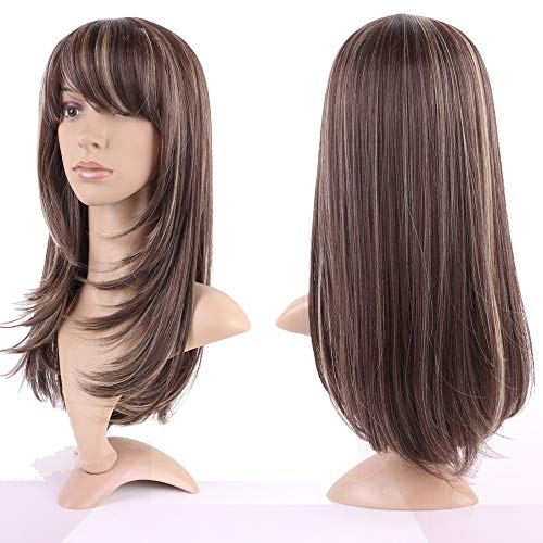 (20 Inch Long Wavy Synthetic Hair Wig with Side Bangs for Women Lolita Wig Heat-resistant Fiber for Anime Fashion Cosplay Highlighted Medium Brown Bleach Blonde Mix)
