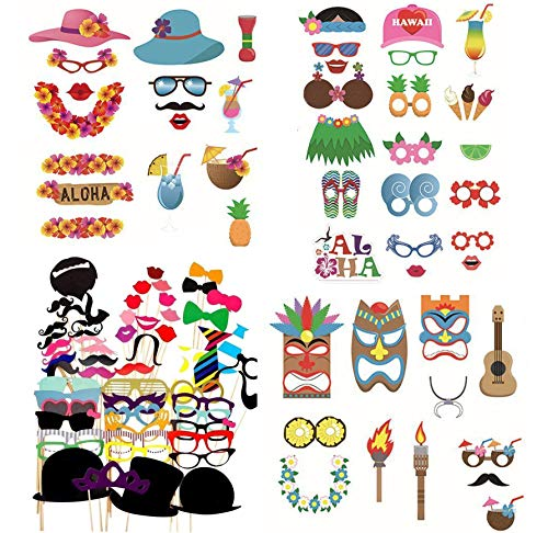 Bevan 118PCS Childrens Colorful Props On A Stick Mustache Photo Booth Party Fun Wedding Favor Christmas Birthday Favor