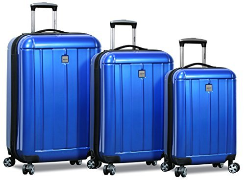 HiPack X-Treme Series 3-piece Expandable Hardshell Spinners w/ Tamper Proof TSA Lock Luggage Set (Blue)