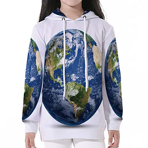 (Sleeve Hooded Sweatshirts,World Map,Planet Earth Picture from Space Satellite Co)