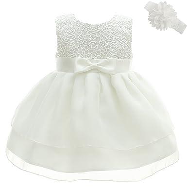 AHAHA Baby Mädchen Prinzessin Kleid Blumenmädchenkleid Taufkleid ...
