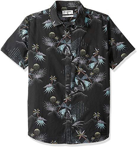 (Billabong Boys' Sundays Floral Short Sleeve Shirt Black Large)
